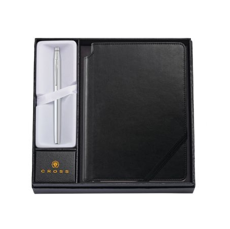Classic Century Chrome Rollerball Pen with Medium Classic Black Journal Gift Set $68