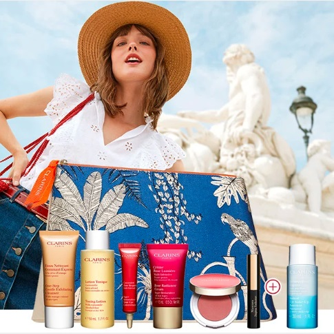 Clarins: 7-piece Gift of Beauty Essentials and An Additional Travel Size! FREE with Any $100+ Order