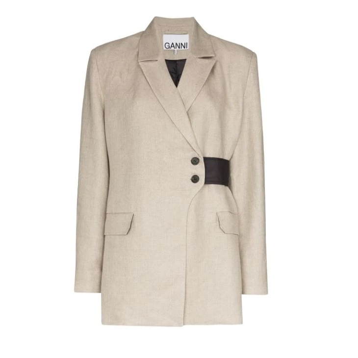 FARFETCH: GANNI Wrap-detail Blazer Jacket 30% OFF