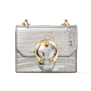 Jimmy Choo: New Collection Silver Metallic Croc-Embossed Leather Super Mini Bag with Metal Buckle