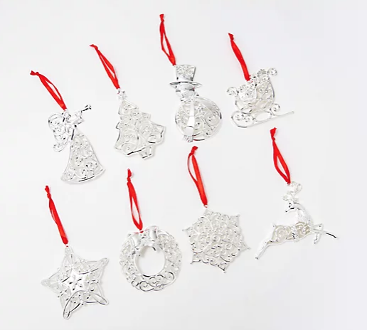 QVC: $38.64 Lenox Set of 8 Silver-Plated Crystal Ornaments with Gift Boxes