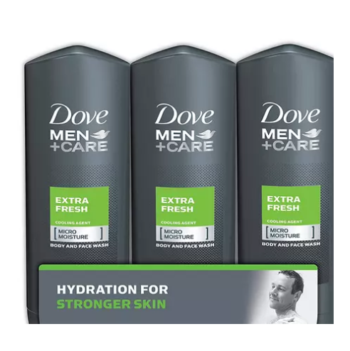 Sam's Club: Dove Men + Care Body and Face Wash, Extra Fresh (18 oz., 3 pk.) for $13.98