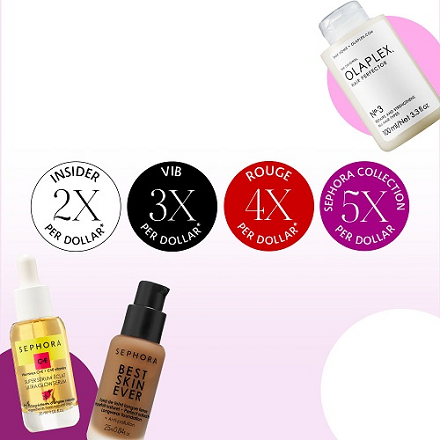 Sephora: Point Multiplier - Insider Members for 2X Points, VIB for 3X and Rouge Get 4X on All Purchases